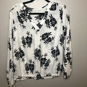 White Blouse with Navy Blue Flowers
